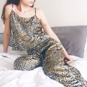 Vintage Silky Satin Animal Print Pajama Set